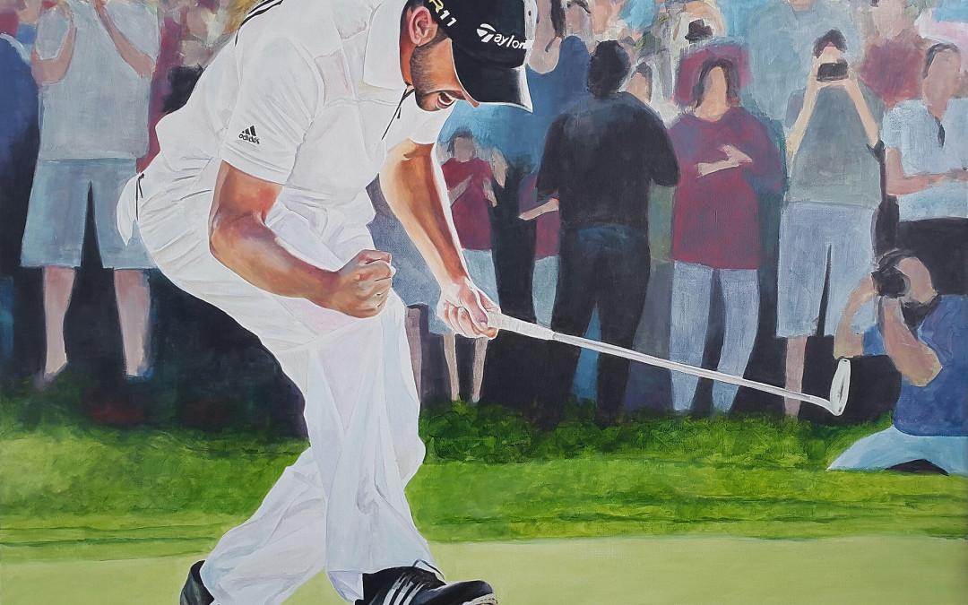 Victor Jerez, el pintor de los deportistas, inmortaliza a Sergio García en Valderrama