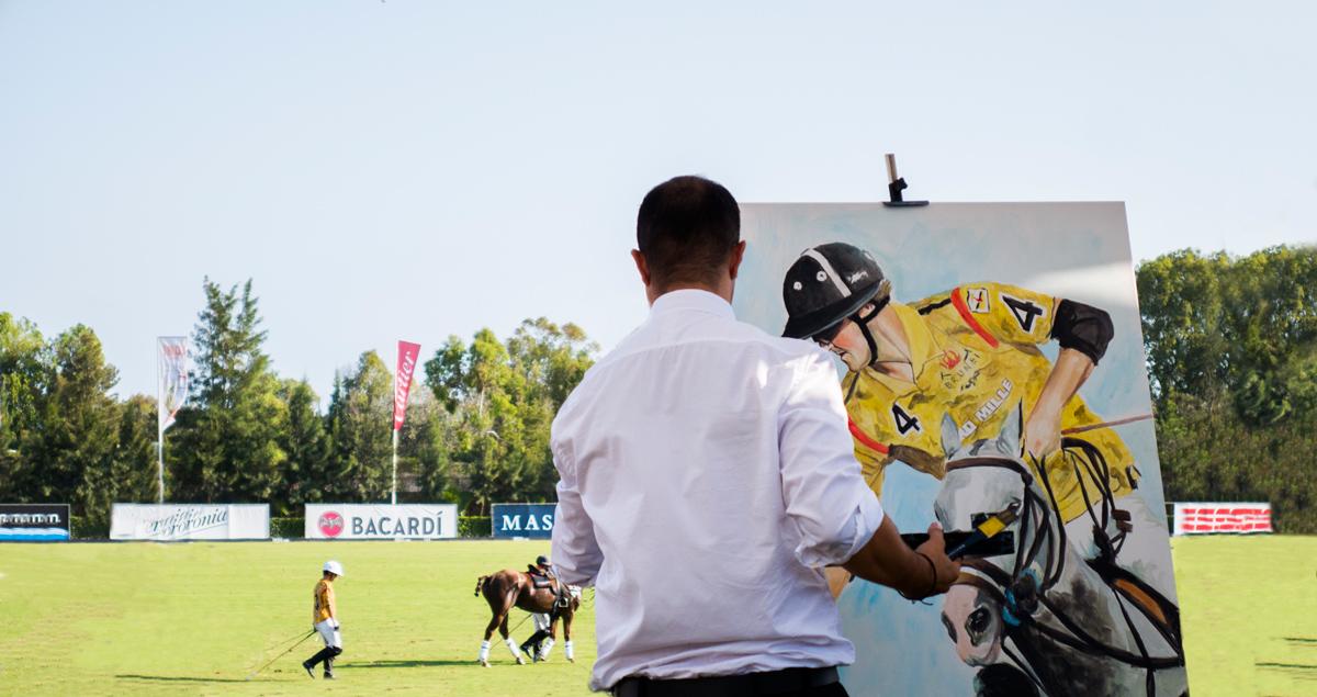 Víctor Jerez ante su reto más difícil: Pintar en directo a los Hándicap 10 del Torneo Internacional Santa María Polo Club