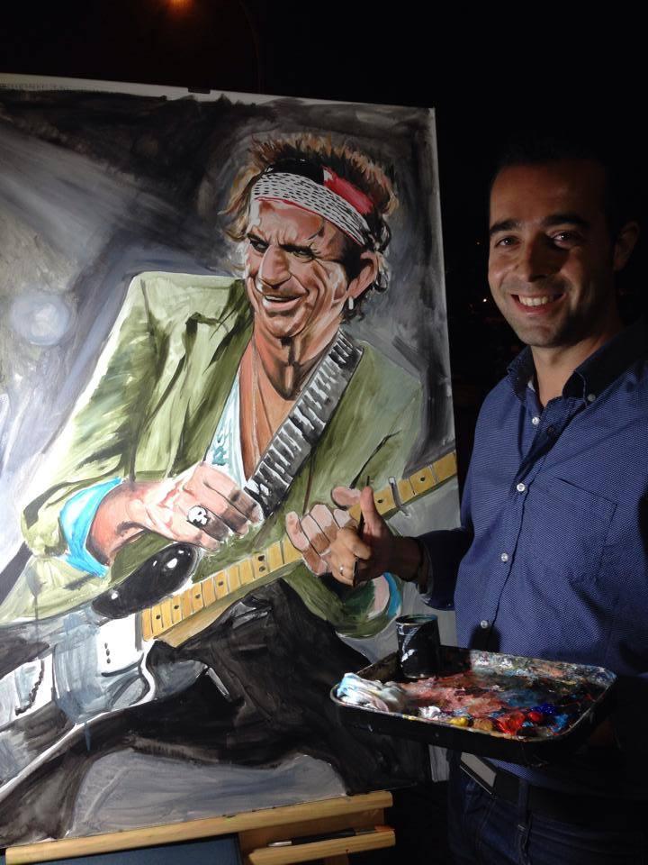 Victor Jerez pinta en Directo a Keith Richars