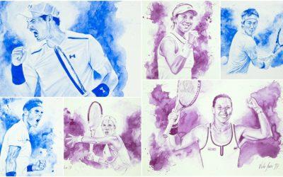 Retratos (en acuarela) del pintor deportivo Víctor Jerez en la antesala del Mutua Madrid Open