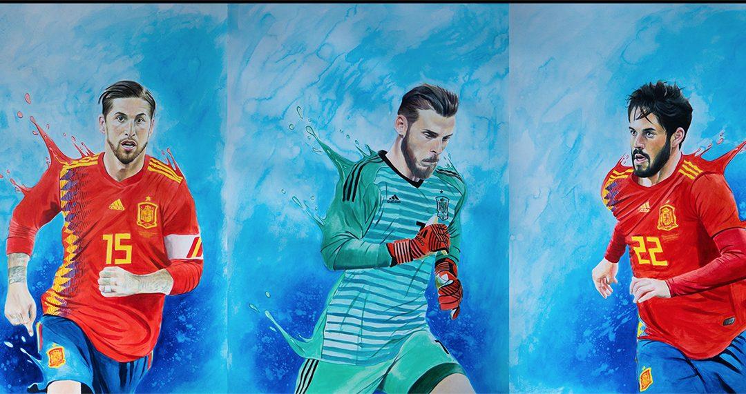 Cabreiroá lanza una edición especial de botellas coleccionables con la imagen de los jugadores de 'La Roja' pintados por Víctor Jerez