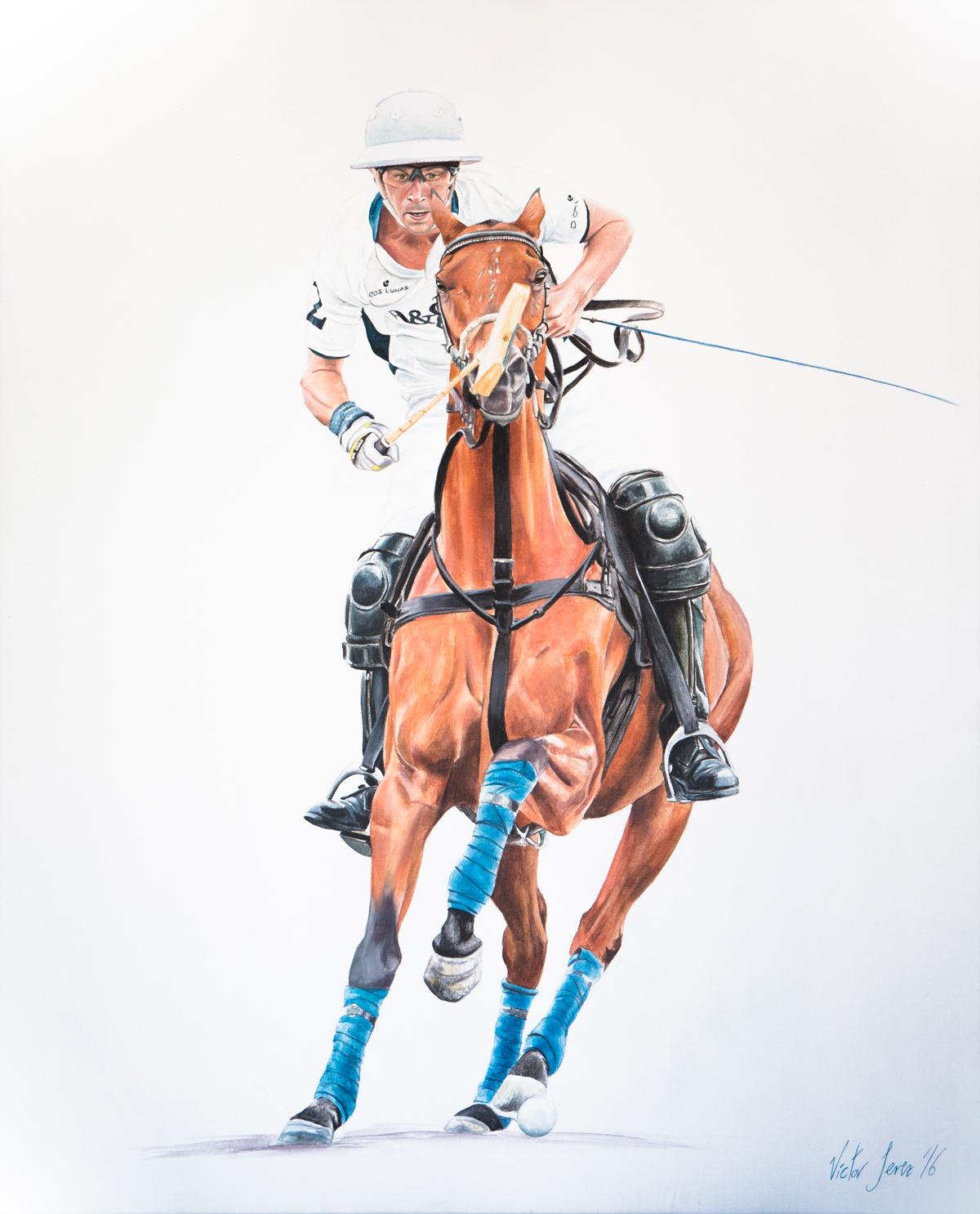 Víctor Jerez pinta en directo a la élite del polo en Sotogrande